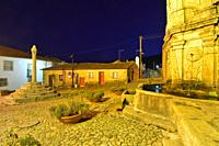 The medieval main square of Castelo Novo at dusk. Beira Baixa, Portugal.