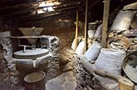 Interior of a watermill in the geological park of Penha Garcia. Beira Baixa, Portugal.