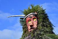 A 6 meter high Careto, ready to burn during the Winter Solstice Festivities. Salsas, Tras-os-Montes. Portugal.