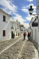 The white washed houses of the historic village of Monsaraz. Alentejo, Portugal.