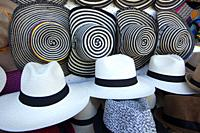 Panama hats for sale at the open-air street market, Cartagena de Indias, Bolivar, Colombia, South America.