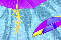 Purple parasol yellow starfish blue summer mood ad space background.