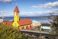 Iglesia nuestra senora de la merced, our lady of mercy church and Beagle Channel, Ushuaia, Tierra del Fuego, Patagonia, Argentina.