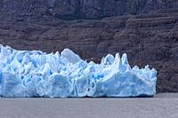 Detail, Grey Glacier, in Grey Lake, Torres del Paine national park, Patagonia, Chile.