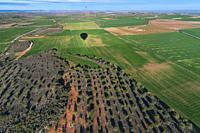 Hot-air ballooning, Baix Segre, Lleida, Catalonia, Spain, Europe.