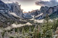 Yosmite Valley following spring snow Tunnel View, Yosemite NP, USA.