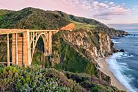 Sunset on Big Sur's Bixby Bridge, California, USA.