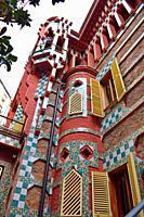 Casa Vicens, by Antonio Gaudí in Barcelona. Catalonia, Spain.