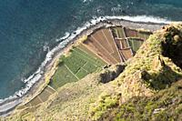 View from the vantage platform at Cabo Girao, Camara de Lobos, Madeira, Portugal. Cabo Girão is a lofty sea cliff located along the southern coast of ...