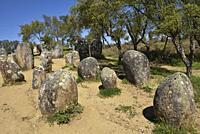 Cromlech of the Almendres (Cromeleque dos Almendres), near Evora, Alentejo region, Portugal, southwertern Europe.