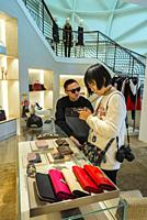 Monaco, Monte Carlo, Chinese Tourists Shopping in Louis Vuitton Store, Les Pavillions, Luxury Shops, Shopping Center