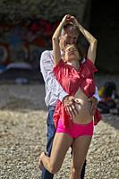 Sensual couple, pregnancy, romantic, age difference, love. Munich, Germany.