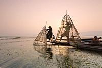 Real Inle lake fishermen , Inle lake, Myanmar.