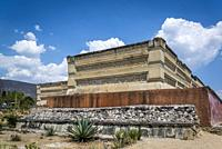 Mitla, pre-columbian archeological site of the Zapotec culture, Palace - part of the Columns Group structures, Oaxaca, Mexico.