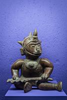 Pre-Hispanic Art Museum Rufino Tamayo, Worrior sculpture, Ceramic sculpture of late preclassical period of Colima, 1250 BC - 200 AD, Oaxaca, Mexico.