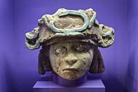 Pre-Hispanic Art Museum Rufino Tamayo, Human head, rare sculpture made of mud without firing with original colour, late classical period of Mixtec, 75...