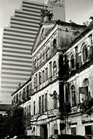 The Old Customs House in the shadow of the CAT Customs House in Bangkok in Thailand in Southeast Asia Far East.