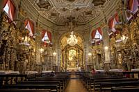 Brazil. Ouro Preto village. Ornate interior of The Church of Igresa de Nossa Senhora do Pilar. Unesco World Heritage Site.