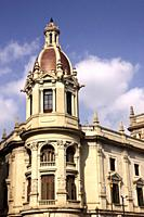 closeup, detail, Town Hall, Plaza del Ayuntamiento, Valencia, Spain.