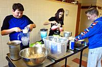 Special Education Students Making Slushies to Raise Trip Money, Wellsville, New York, USA.