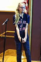 Middle School Girl Competing in Georgraphy Bee, Wellsville, New York, USA.