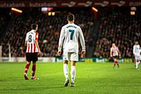 Cristiano Ronaldo, CR7, Real Madrid player in action during a Spanish League match between Athletic Club Bilbao and Real Madrid