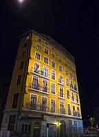 Wall Painting at Night in Lyon, Auvergne-Rhone-Alpes in France.
