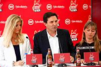 Music: SuperBock em Stock press conference presentation in Skybar Tivoly Hotel at Lisbon, Portugal. Maria Estarreja, Luis Montez and Silvia. Photo by ...