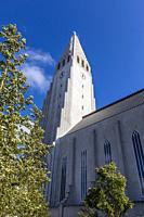 Exterior view of Hallgrímskirkja, the largest Lutheran church in Reykjavík, Iceland.