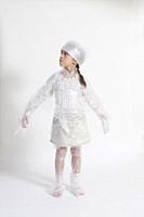 little girl wearing bubble wrap
