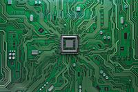 Computer motherboard with CPU. Circuit board system chip with core processor. Computer technology background. 3d illustration.