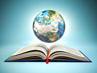 Opened book and Earth on blue background, Education concept. 3d illustration.