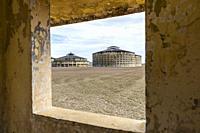 Exterior view of the Presidio Modelo, Model Prison, built in the late 1920's on Isla de la Juventud, Cuba.
