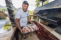 Fresh caught fish being prepared at a private restaurant in Nueva Gerona on Isla de la Juventud, Cuba.