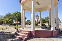 View of the Catholic Church across the town square in Nueva Gerona on Isla de la Juventud, Cuba.