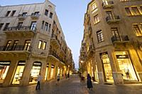 Fashion boutiques on street in restored Downtown district Beirut, Lebanon.