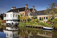 The village Onderdendam on the Boterdiep canal in the Dutch province Groningen.