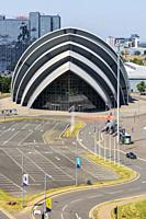 Scottish Exhibition and Conference CEntre, known as the Armadillo because of its shape, Anderston, Glasgow, Scotland.