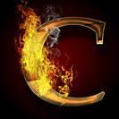 C, fire letter illustration.