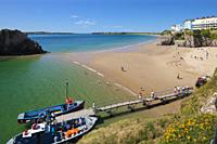 Castle Beach and South Beach Tenby Pembrokeshire Wales with Caldey Island in the background.