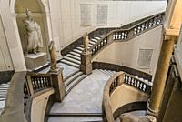 Grand marble staircase, National Archaeological Museum, Naples, Italy.