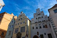 The oldest buildings in old town of Riga, the three brothers, Riga, Latvia.