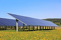 Solar panels on an open green field with yellow flowers and blue sky in the spring. Salo, Finland.