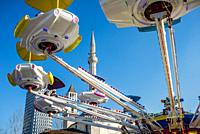 Amusement park in the central square, Tirana, Albania.