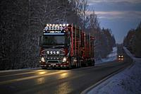 Customized Volvo FH16 750 logging truck of R. M. Enberg Transport Ab lights up the road as it hauls log load through rural landscape on a dark winter ...