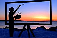 Artwork on Great Island, New Hampshire, paints the perfect sunrise.
