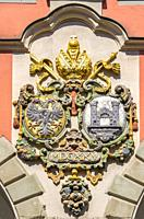 Coat of arms at the Old Theater (Altes Theater) in Ravensburg, Baden-Wuerttemberg, Upper Swabia, Germany.