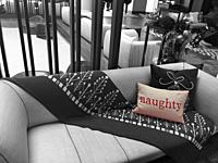 A NAUGHTY pillow in a modern living room, USA.