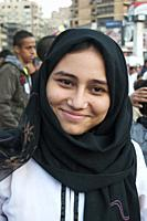 Portrait of a young Egyptian Muslim woman attending the Eid el Adha festival in Mohandiseen, Cairo.
