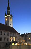 Czech Republic, Moravia, Olomouc, Town Hall, Clock Tower, Caesar's Fountain,.